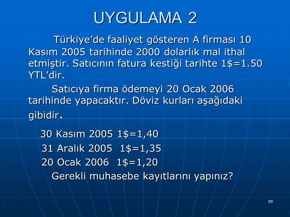 29 UYGULAMA 2 Türkiye'de faaliyet gösteren A firması 10 Kasım 2005 tarihinde 2000 dolarlık mal ithal etmiştir. Satıcının fatura kestiği tarihte 1$=1.5