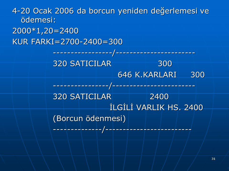 31 4-20 Ocak 2006 da borcun yeniden değerlemesi ve ödemesi: 2000*1,20=2400 KUR FARKI=2700-2400=300 -----------------/----------------------- ---------