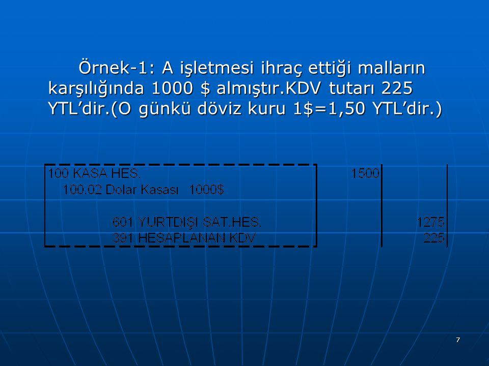 7 Örnek-1: A işletmesi ihraç ettiği malların karşılığında 1000 $ almıştır.KDV tutarı 225 YTL'dir.(O günkü döviz kuru 1$=1,50 YTL'dir.)
