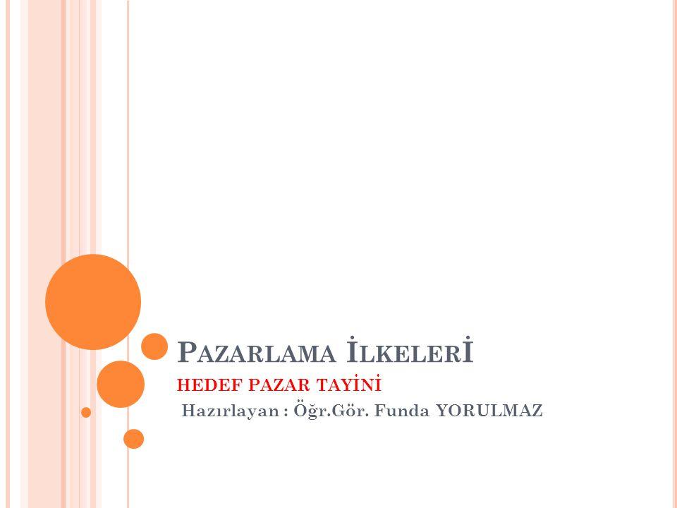 P AZARLAMA İ LKELER İ HEDEF PAZAR TAYİNİ Hazırlayan : Öğr.Gör. Funda YORULMAZ