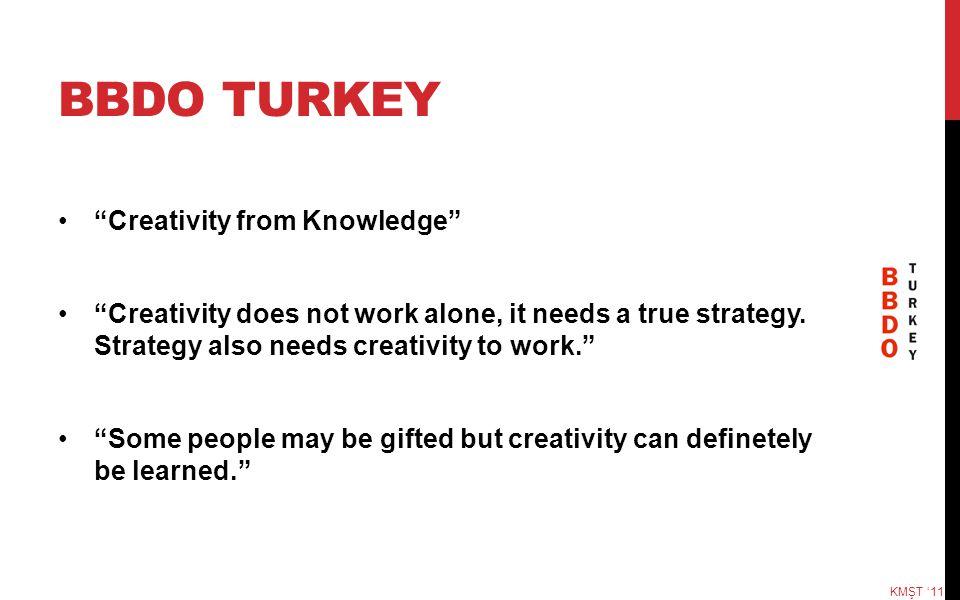 "BBDO TURKEY ""Creativity from Knowledge"" ""Creativity does not work alone, it needs a true strategy. Strategy also needs creativity to work."" ""Some peop"