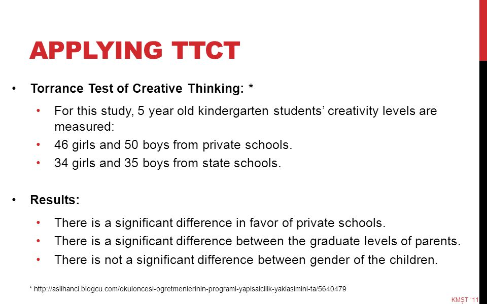 APPLYING TTCT Torrance Test of Creative Thinking: * For this study, 5 year old kindergarten students' creativity levels are measured: 46 girls and 50 boys from private schools.