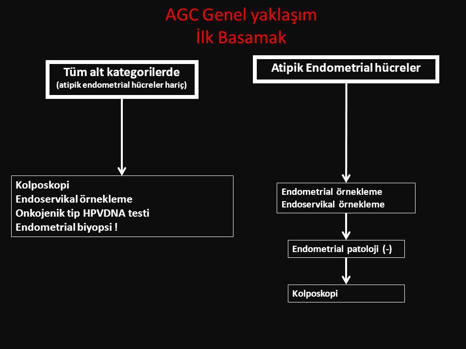 AGC Genel yaklaşım İlk Basamak Tüm alt kategorilerde (atipik endometrial hücreler hariç) Atipik Endometrial hücreler Kolposkopi Endoservikal örnekleme Onkojenik tip HPVDNA testi Endometrial biyopsi .