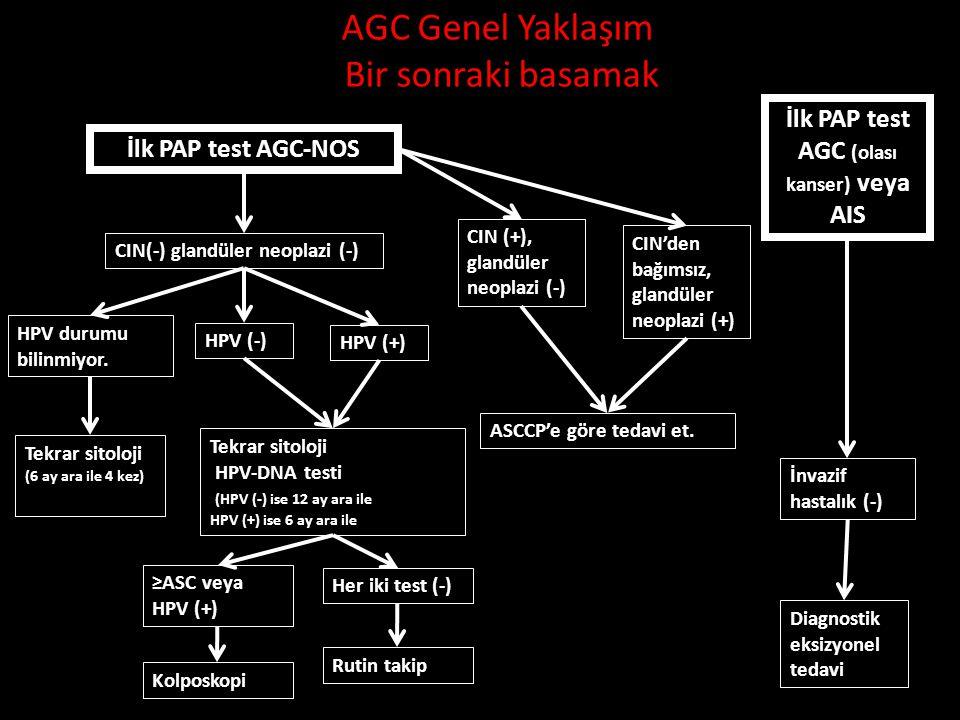AGC Genel Yaklaşım Bir sonraki basamak İlk PAP test AGC-NOS İlk PAP test AGC (olası kanser) veya AIS İnvazif hastalık (-) Diagnostik eksizyonel tedavi CIN(-) glandüler neoplazi (-) HPV durumu bilinmiyor.