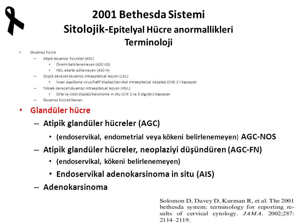 2001 Bethesda Sistemi Sitolojik- Epitelyal Hücre anormallikleri Terminoloji Skuamoz hücre – Atipik skuamoz hücreler (ASC) Önemi belirlenemeyen (ASC-US) HSIL ekarte edilemeyen (ASC-H) – Düşük dereceli skuamoz intraepitelyal lezyon (LSIL) İnsan papilloma virus/hafif displazi/servikal intraepitelyal neoplazi (CIN) 1'i kapsayan – Yüksek dereceli skuamoz intraepitelyal lezyon (HSIL) Orta ve ciddi displazi/karsinoma in situ (CIN 2 ve 3 olguları) kapsayan – Skuamoz hücreli kanser Glandüler hücre – Atipik glandüler hücreler (AGC) (endoservikal, endometrial veya kökeni belirlenemeyen) AGC-NOS – Atipik glandüler hücreler, neoplaziyi düşündüren (AGC-FN) (endoservikal, kökeni belirlenemeyen) Endoservikal adenokarsinoma in situ (AIS) – Adenokarsinoma
