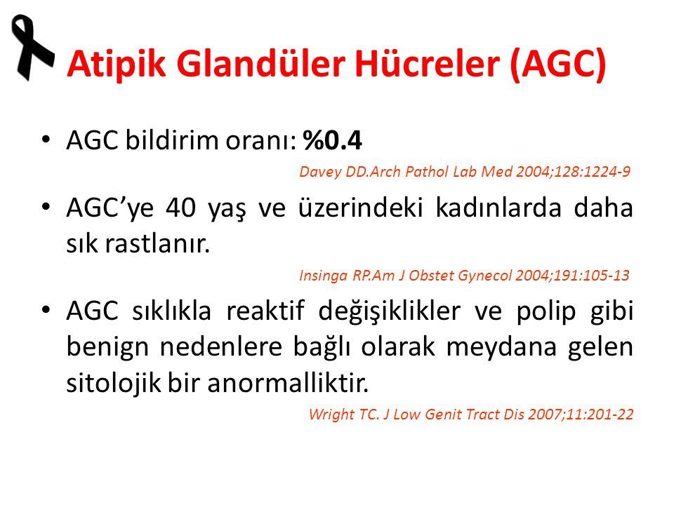 Atipik Glandüler Hücreler (AGC) AGC bildirim oranı: %0.4 Davey DD.Arch Pathol Lab Med 2004;128:1224-9 AGC'ye 40 yaş ve üzerindeki kadınlarda daha sık rastlanır.