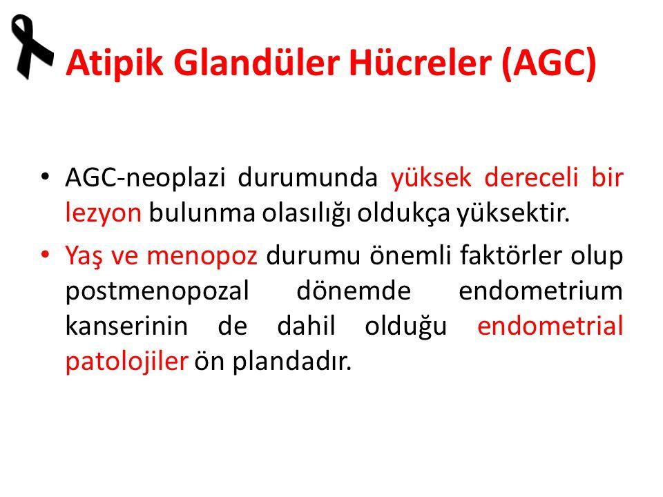 Atipik Glandüler Hücreler (AGC) AGC-neoplazi durumunda yüksek dereceli bir lezyon bulunma olasılığı oldukça yüksektir.
