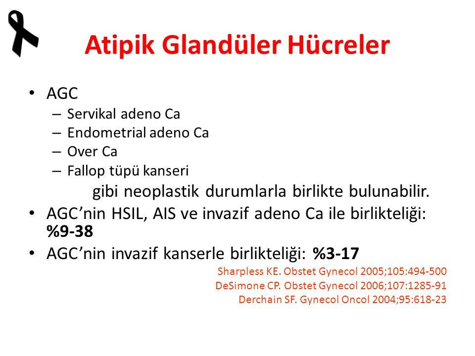 Atipik Glandüler Hücreler AGC – Servikal adeno Ca – Endometrial adeno Ca – Over Ca – Fallop tüpü kanseri gibi neoplastik durumlarla birlikte bulunabilir.