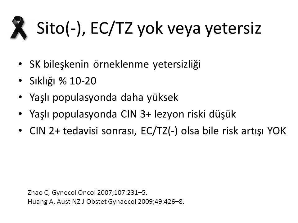 Sito(-), EC/TZ yok veya yetersiz SK bileşkenin örneklenme yetersizliği Sıklığı % 10-20 Yaşlı populasyonda daha yüksek Yaşlı populasyonda CIN 3+ lezyon riski düşük CIN 2+ tedavisi sonrası, EC/TZ(-) olsa bile risk artışı YOK Zhao C, Gynecol Oncol 2007;107:231–5.
