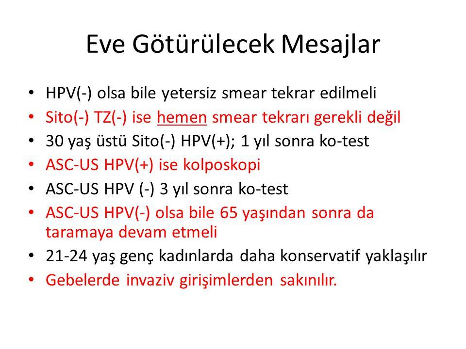 Eve Götürülecek Mesajlar HPV(-) olsa bile yetersiz smear tekrar edilmeli Sito(-) TZ(-) ise hemen smear tekrarı gerekli değil 30 yaş üstü Sito(-) HPV(+