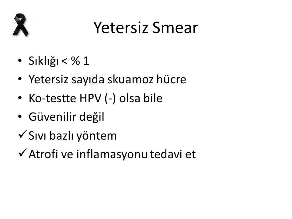 Yetersiz Smear Sıklığı < % 1 Yetersiz sayıda skuamoz hücre Ko-testte HPV (-) olsa bile Güvenilir değil Sıvı bazlı yöntem Atrofi ve inflamasyonu tedavi