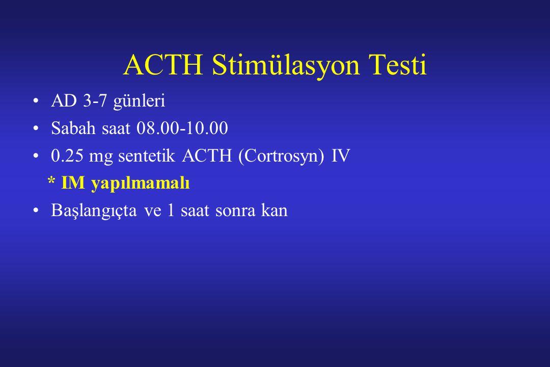 ACTH Stimülasyon Testi AD 3-7 günleri Sabah saat 08.00-10.00 0.25 mg sentetik ACTH (Cortrosyn) IV * IM yapılmamalı Başlangıçta ve 1 saat sonra kan