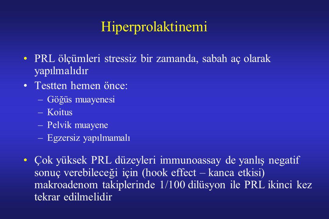 Hiperprolaktinemi PRL ölçümleri stressiz bir zamanda, sabah aç olarak yapılmalıdır Testten hemen önce: –Göğüs muayenesi –Koitus –Pelvik muayene –Egzer