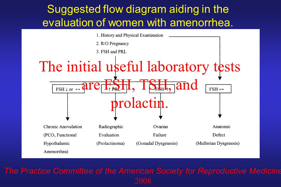 Suggested flow diagram aiding in the evaluation of women with amenorrhea. The Practice Committee of the American Society for Reproductive Medicine 200