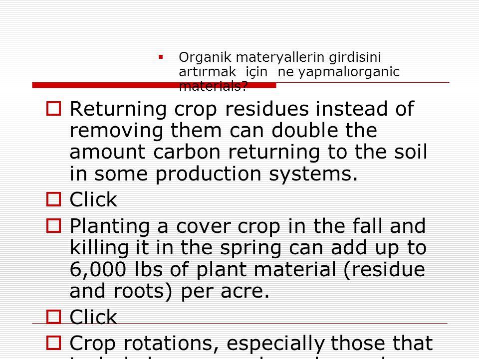  Organik materyallerin girdisini artırmak için ne yapmalıorganic materials?  Returning crop residues instead of removing them can double the amount