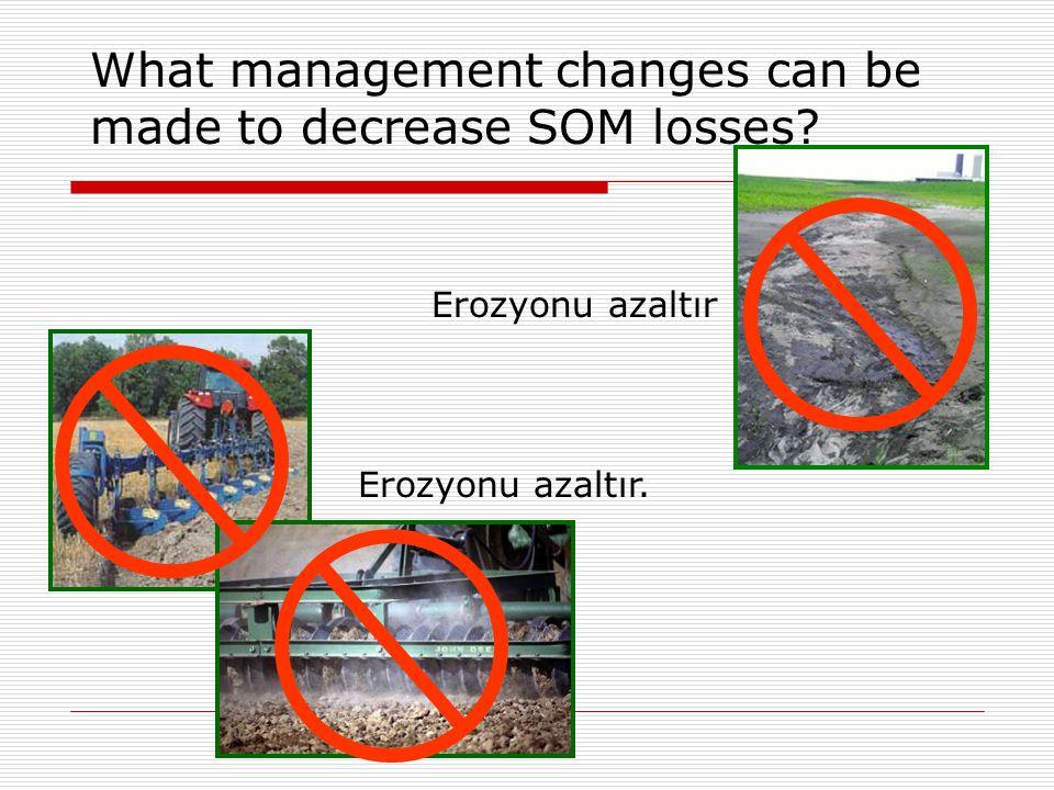 What management changes can be made to decrease SOM losses? Erozyonu azaltır Erozyonu azaltır.