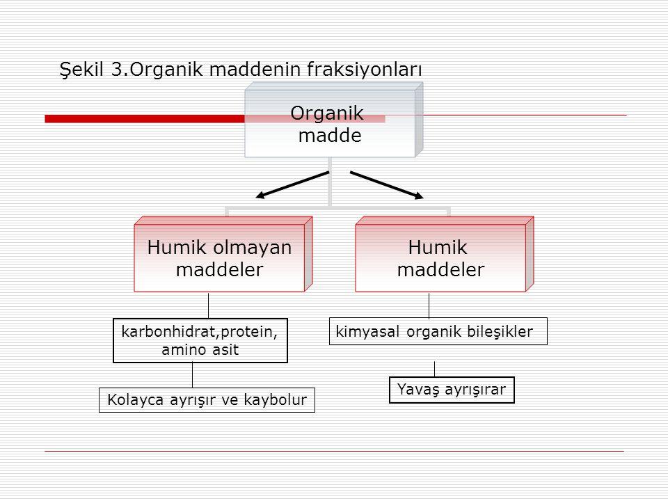 Şekil 3.Organik maddenin fraksiyonları Organik madde Humik olmayan maddeler Humik maddeler karbonhidrat,protein, amino asit Kolayca ayrışır ve kaybolur kimyasal organik bileşikler Yavaş ayrışırar