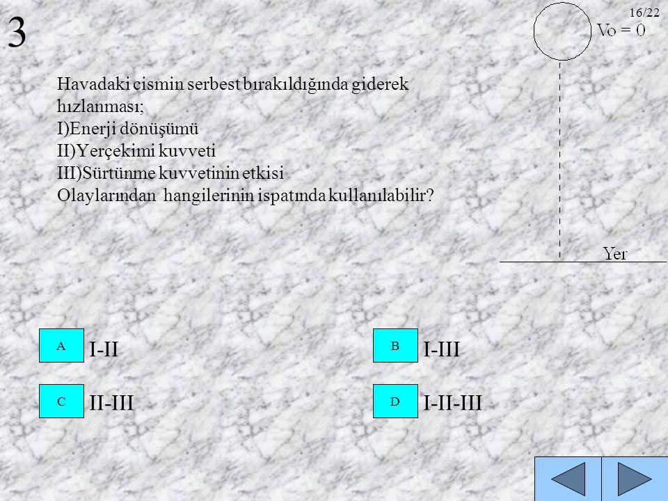 Havadaki cismin serbest bırakıldığında giderek hızlanması; I)Enerji dönüşümü II)Yerçekimi kuvveti III)Sürtünme kuvvetinin etkisi Olaylarından hangiler