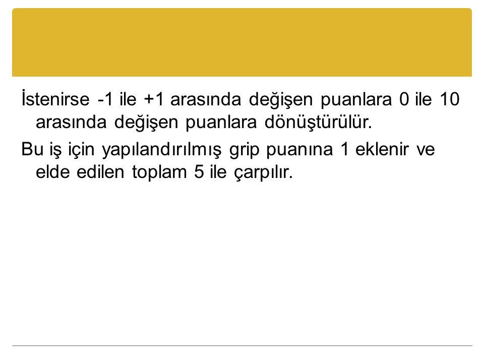 İstenirse -1 ile +1 arasında değişen puanlara 0 ile 10 arasında değişen puanlara dönüştürülür. Bu iş için yapılandırılmış grip puanına 1 eklenir ve el