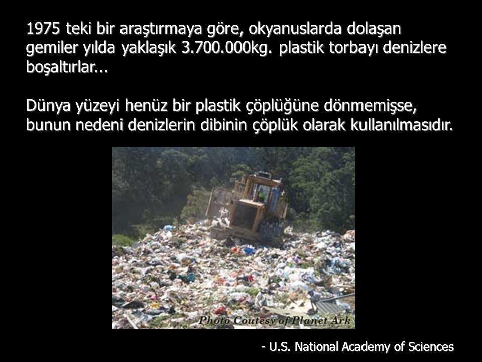1975 teki bir araştırmaya göre, okyanuslarda dolaşan gemiler yılda yaklaşık 3.700.000kg. plastik torbayı denizlere boşaltırlar... Dünya yüzeyi henüz b
