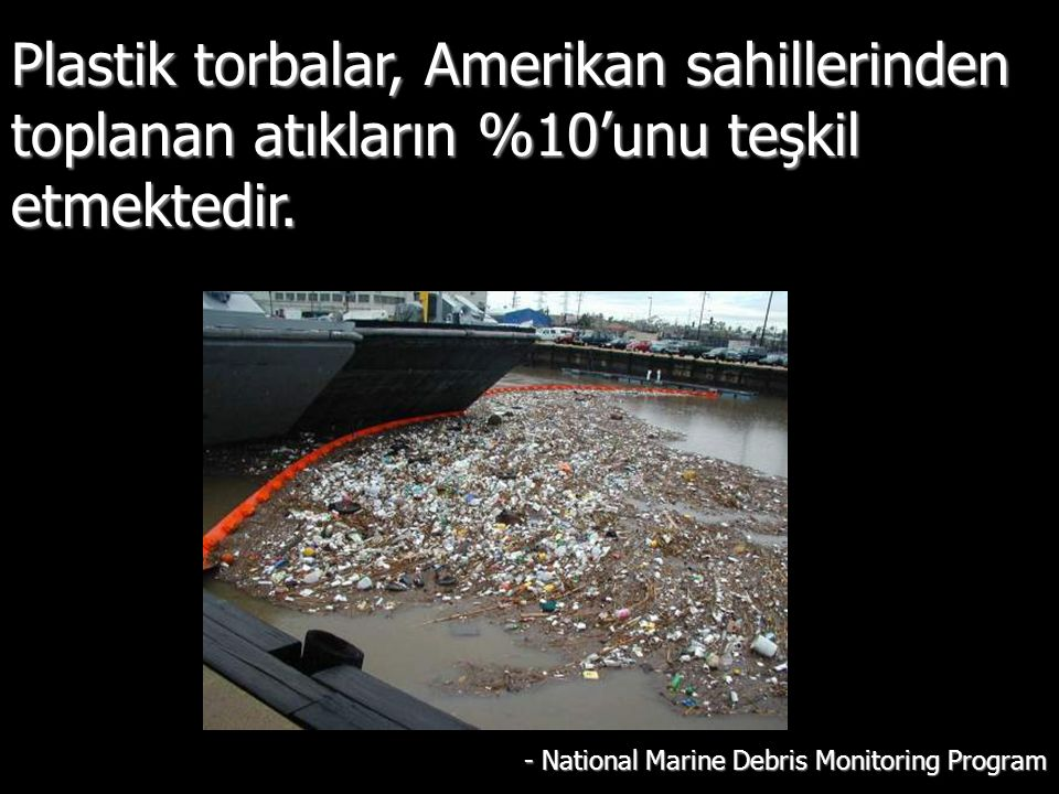 Plastik torbalar, Amerikan sahillerinden toplanan atıkların %10'unu teşkil etmektedir. - National Marine Debris Monitoring Program