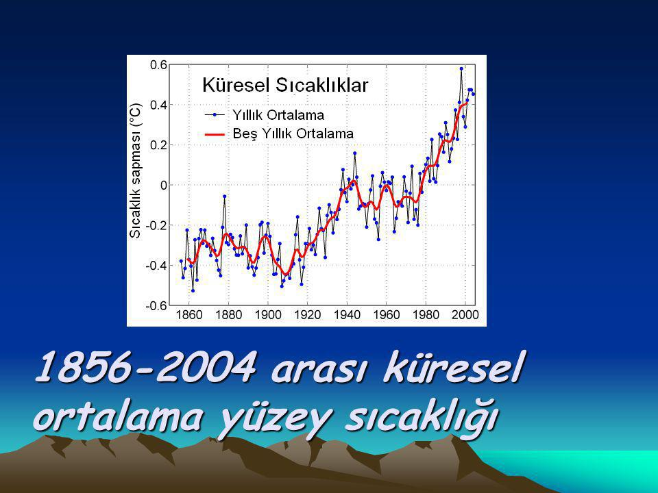 1856-2004 arası küresel ortalama yüzey sıcaklığı