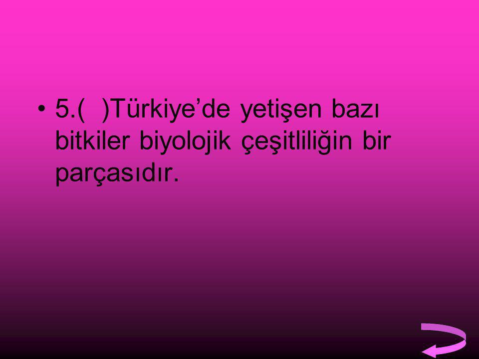 5.( )Türkiye'de yetişen bazı bitkiler biyolojik çeşitliliğin bir parçasıdır.