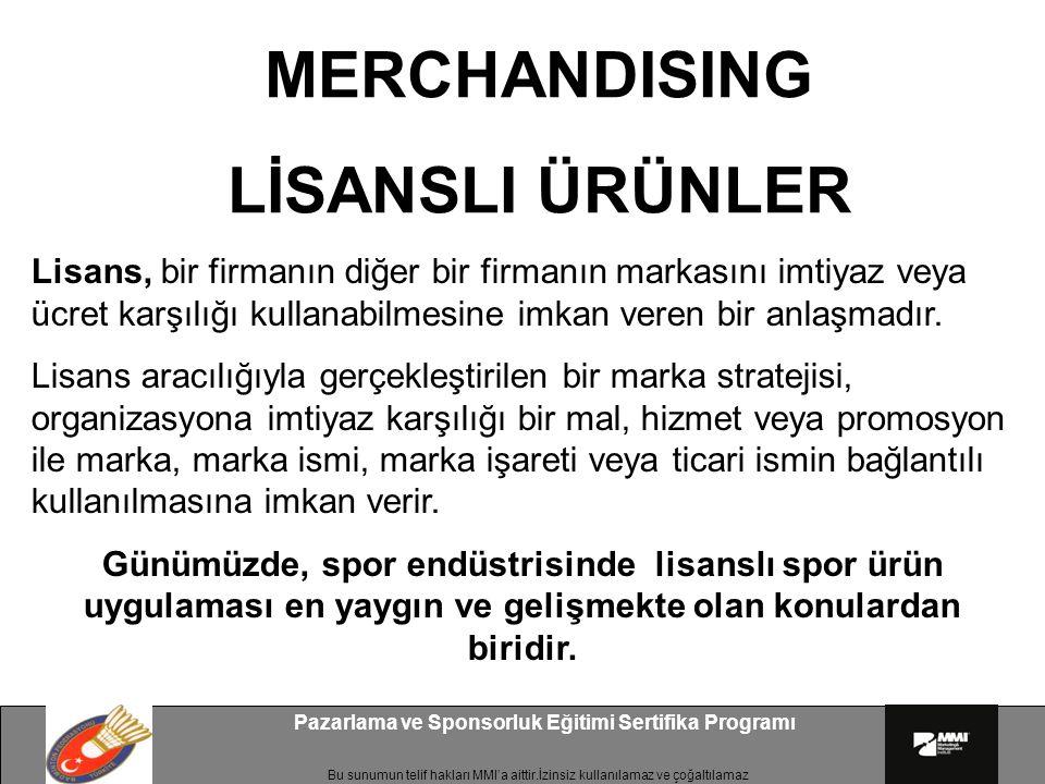 Bu sunumun telif hakları MMI'a aittir.İzinsiz kullanılamaz ve çoğaltılamaz Pazarlama ve Sponsorluk Eğitimi Sertifika Programı Merchandise Ürünleri Nelerdir.