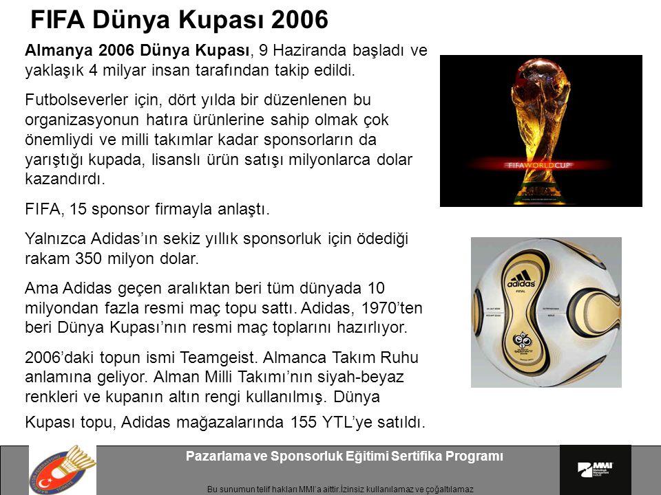 Bu sunumun telif hakları MMI'a aittir.İzinsiz kullanılamaz ve çoğaltılamaz Pazarlama ve Sponsorluk Eğitimi Sertifika Programı Almanya 2006 Dünya Kupas