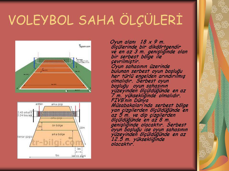 VOLEYBOL SAHA ÖLÇÜLERİ Oyun alanı 18 x 9 m. ölçülerinde bir dikdörtgendir ve en az 3 m. genişliğinde olan bir serbest bölge ile çevrilmiştir. Oyun sah