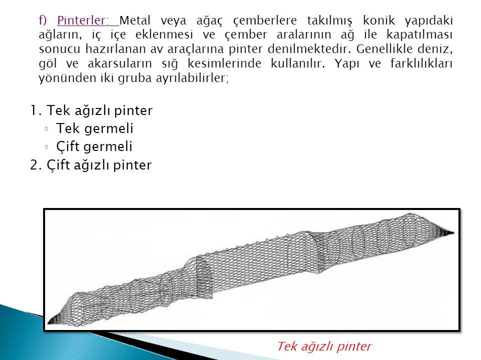 1. Tek ağızlı pinter ◦ Tek germeli ◦ Çift germeli 2. Çift ağızlı pinter f) Pinterler: Metal veya ağaç çemberlere takılmış konik yapıdaki ağların, iç i