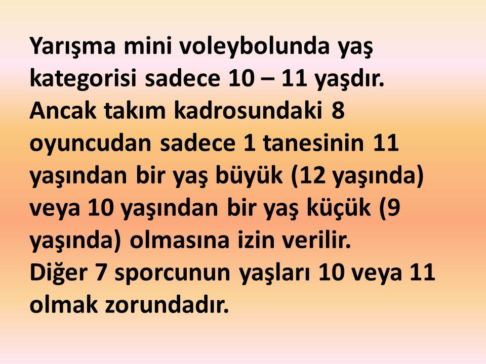 Yarışma mini voleybolunda yaş kategorisi sadece 10 – 11 yaşdır. Ancak takım kadrosundaki 8 oyuncudan sadece 1 tanesinin 11 yaşından bir yaş büyük (12