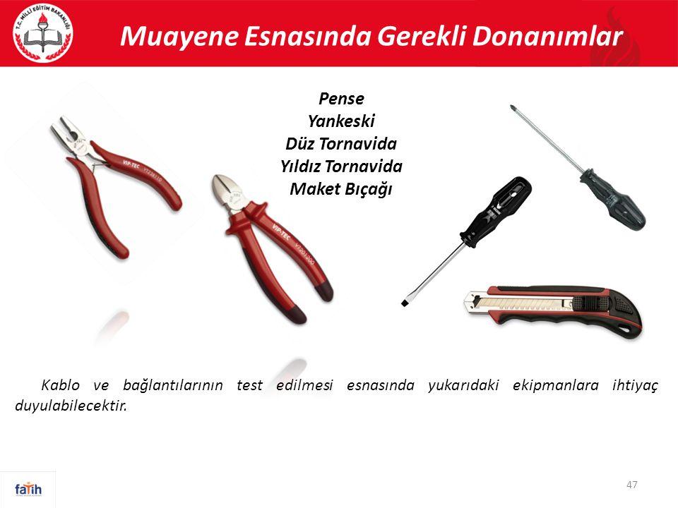 Muayene Esnasında Gerekli Donanımlar 47 Pense Yankeski Düz Tornavida Yıldız Tornavida Maket Bıçağı Kablo ve bağlantılarının test edilmesi esnasında yu