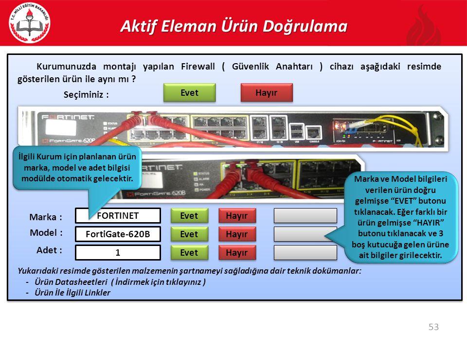 Aktif Eleman Ürün Doğrulama 53 Kurumunuzda montajı yapılan Firewall ( Güvenlik Anahtarı ) cihazı aşağıdaki resimde gösterilen ürün ile aynı mı ? Evet