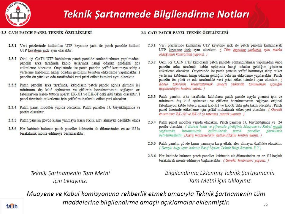Teknik Şartnamede Bilgilendirme Notları 55 Muayene ve Kabul komisyonuna rehberlik etmek amacıyla Teknik Şartnamenin tüm maddelerine bilgilendirme amaç