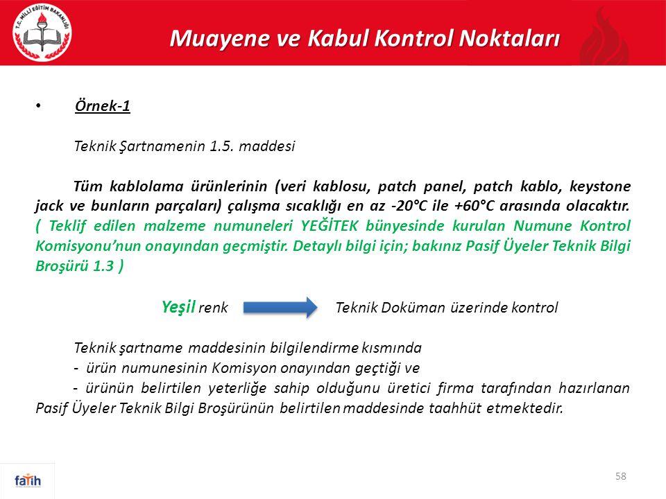 Muayene ve Kabul Kontrol Noktaları Örnek-1 Teknik Şartnamenin 1.5. maddesi Tüm kablolama ürünlerinin (veri kablosu, patch panel, patch kablo, keystone