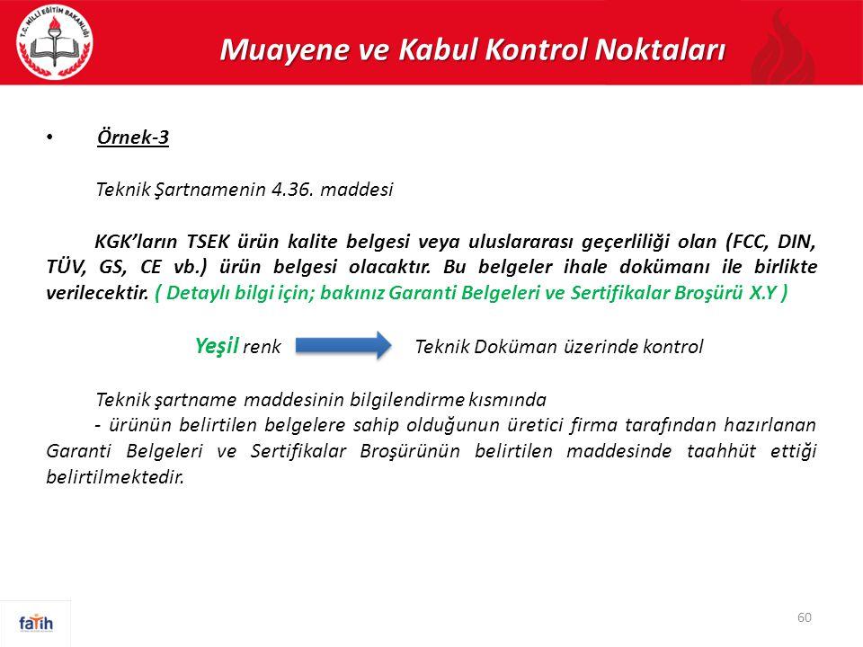 Muayene ve Kabul Kontrol Noktaları Örnek-3 Teknik Şartnamenin 4.36. maddesi KGK'ların TSEK ürün kalite belgesi veya uluslararası geçerliliği olan (FCC