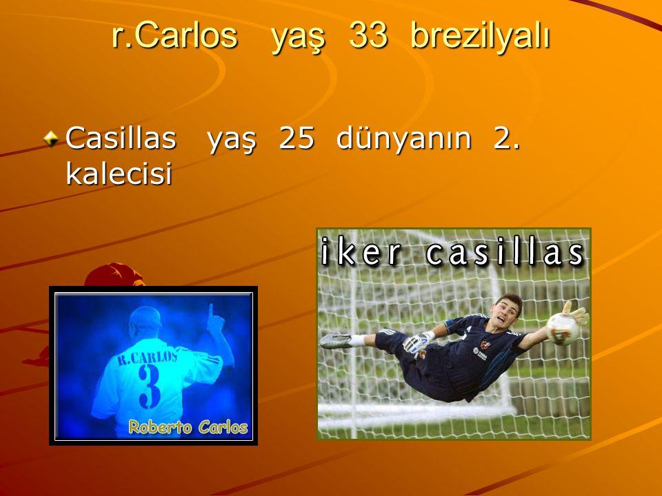 r.Carlos yaş 33 brezilyalı Casillas yaş 25 dünyanın 2. kalecisi