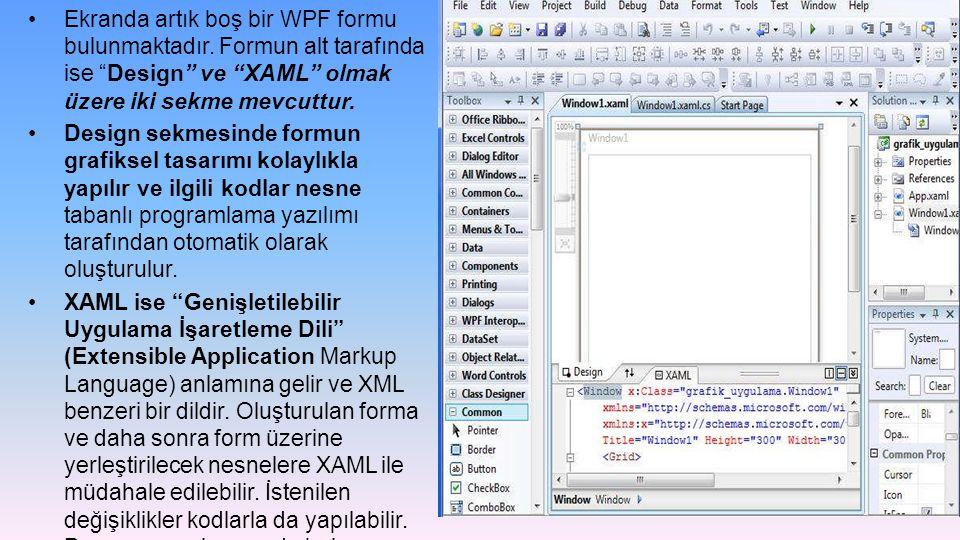 """Ekranda artık boş bir WPF formu bulunmaktadır. Formun alt tarafında ise """"Design"""" ve """"XAML"""" olmak üzere iki sekme mevcuttur. Design sekmesinde formun g"""