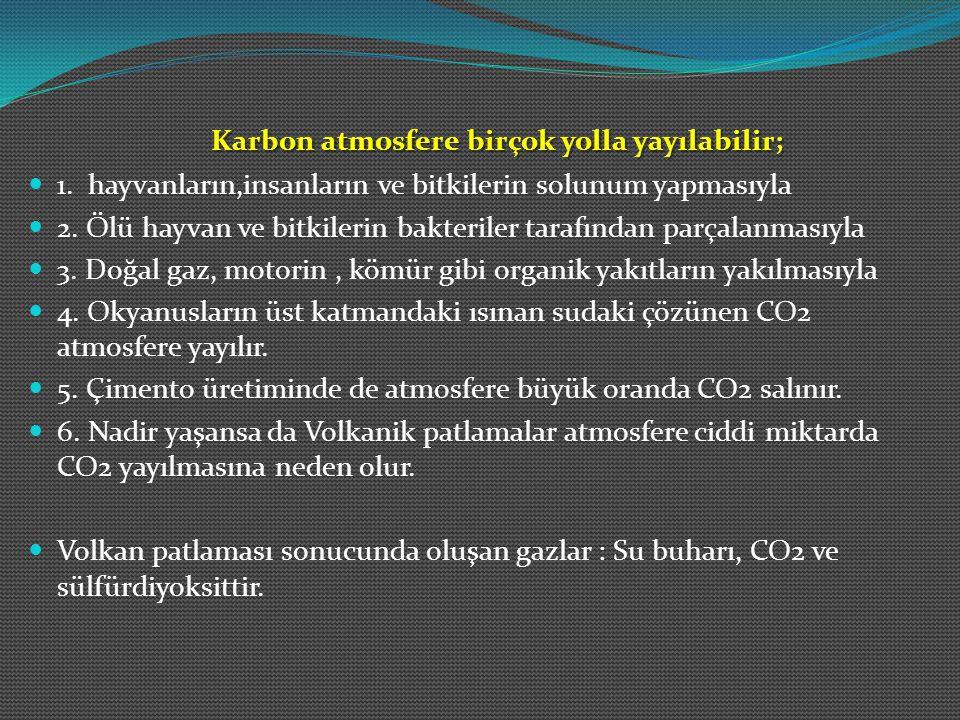 Karbon atmosfere birçok yolla yayılabilir; 1. hayvanların,insanların ve bitkilerin solunum yapmasıyla 2. Ölü hayvan ve bitkilerin bakteriler tarafında