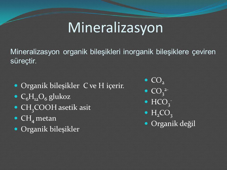 Mineralizasyon Organik bileşikler C ve H içerir. C 6 H 12 O 6 glukoz CH 3 COOH asetik asit CH 4 metan Organik bileşikler CO 2 CO 3 2- HCO 3 - H 2 CO 3