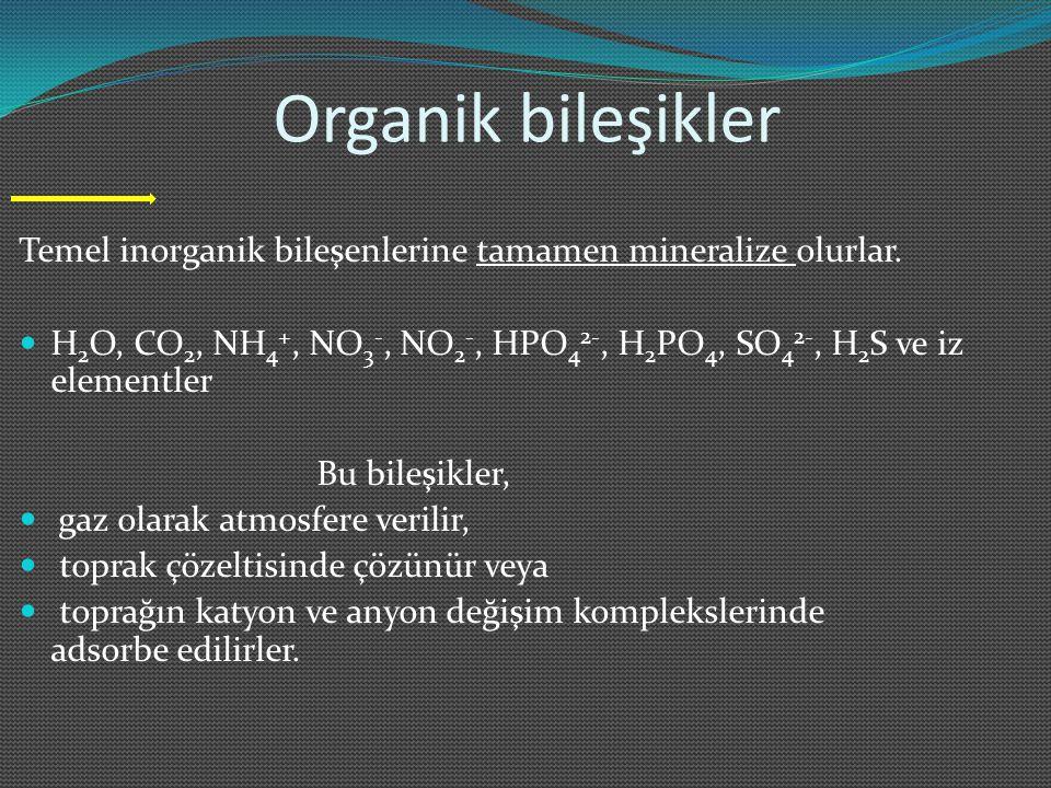 Organik bileşikler Temel inorganik bileşenlerine tamamen mineralize olurlar. H 2 O, CO 2, NH 4 +, NO 3 -, NO 2 -, HPO 4 2-, H 2 PO 4, SO 4 2-, H 2 S v