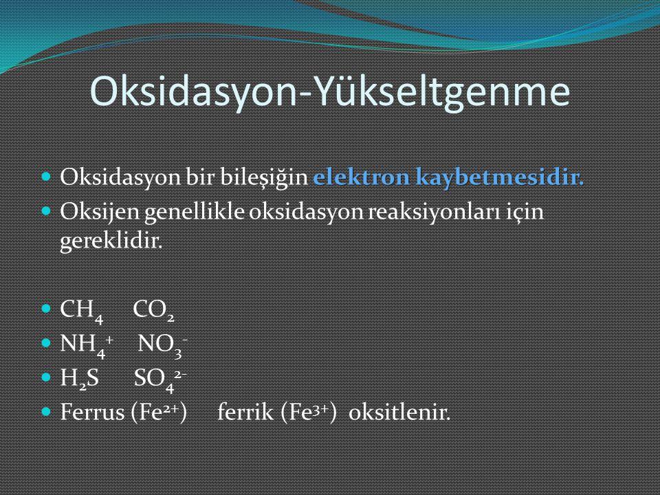 Oksidasyon-Yükseltgenme elektron kaybetmesidir. Oksidasyon bir bileşiğin elektron kaybetmesidir. Oksijen genellikle oksidasyon reaksiyonları için gere