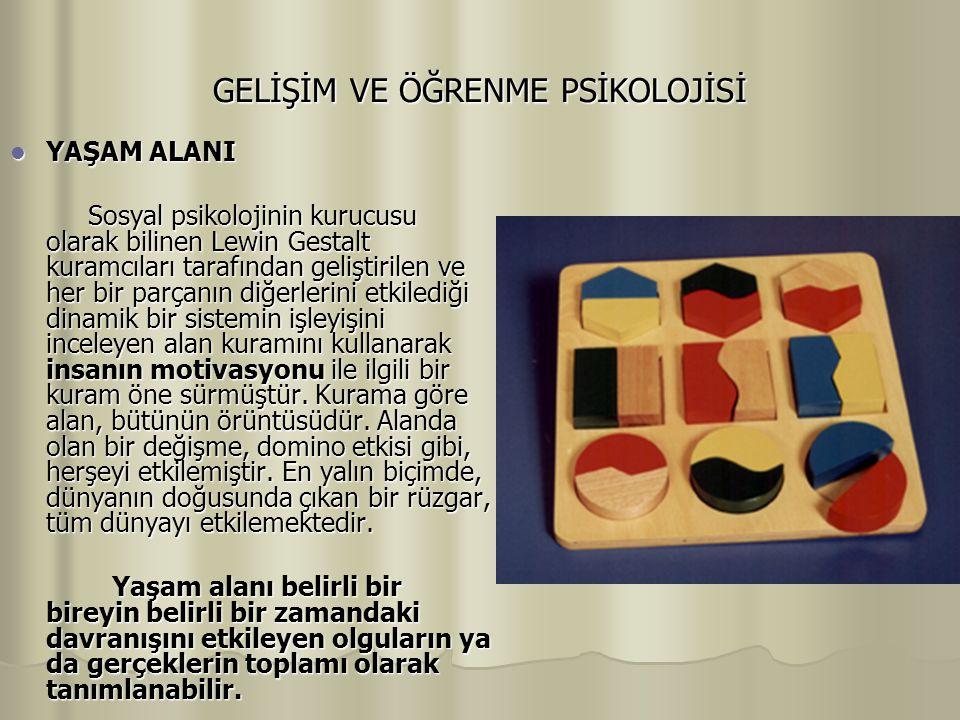 GELİŞİM VE ÖĞRENME PSİKOLOJİSİ YAŞAM ALANI YAŞAM ALANI Sosyal psikolojinin kurucusu olarak bilinen Lewin Gestalt kuramcıları tarafından geliştirilen v