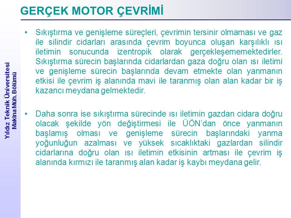 Yıldız Teknik Üniversitesi Makina Müh. Bölümü EMME SÜRECİ Genel gaz kanununa göre