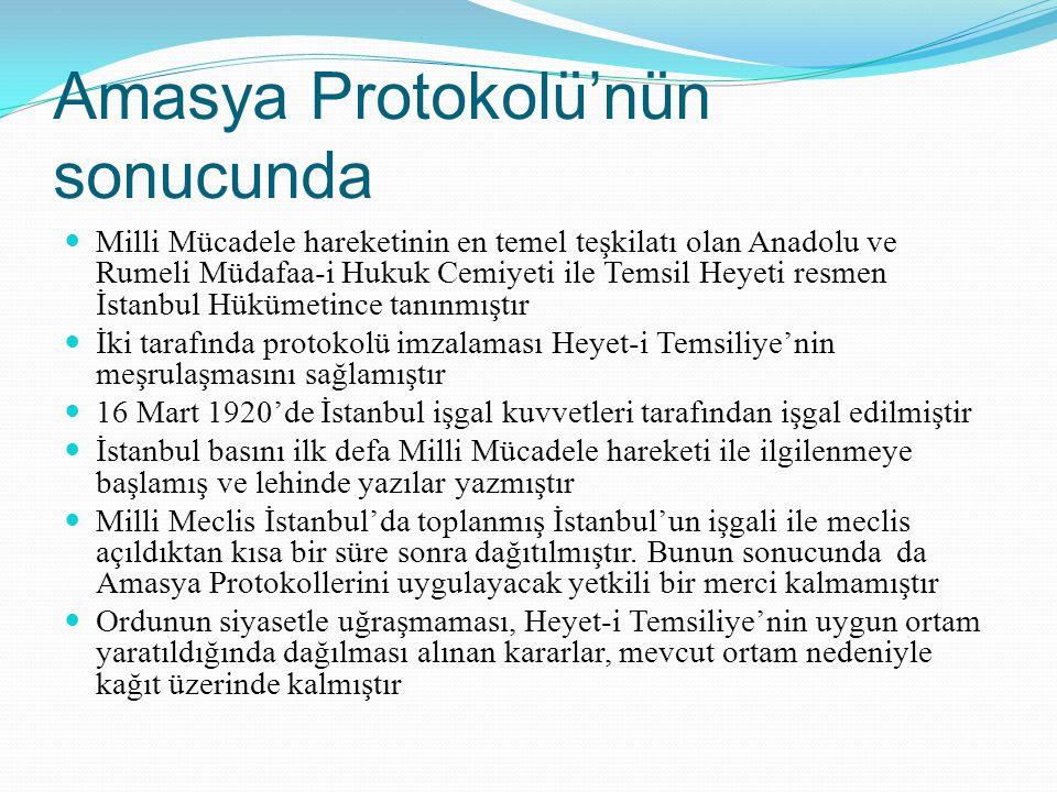 Amasya Protokolü'nün sonucunda Milli Mücadele hareketinin en temel teşkilatı olan Anadolu ve Rumeli Müdafaa-i Hukuk Cemiyeti ile Temsil Heyeti resmen