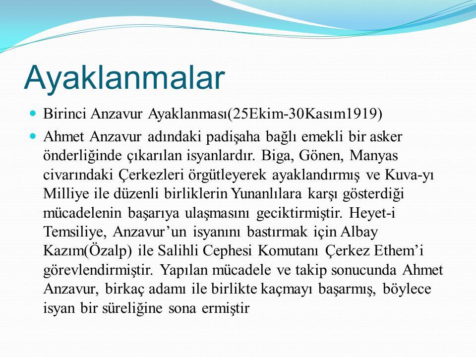 Ayaklanmalar Birinci Anzavur Ayaklanması(25Ekim-30Kasım1919) Ahmet Anzavur adındaki padişaha bağlı emekli bir asker önderliğinde çıkarılan isyanlardır
