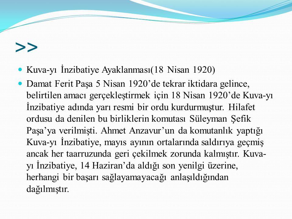 >> Kuva-yı İnzibatiye Ayaklanması(18 Nisan 1920) Damat Ferit Paşa 5 Nisan 1920'de tekrar iktidara gelince, belirtilen amacı gerçekleştirmek için 18 Ni