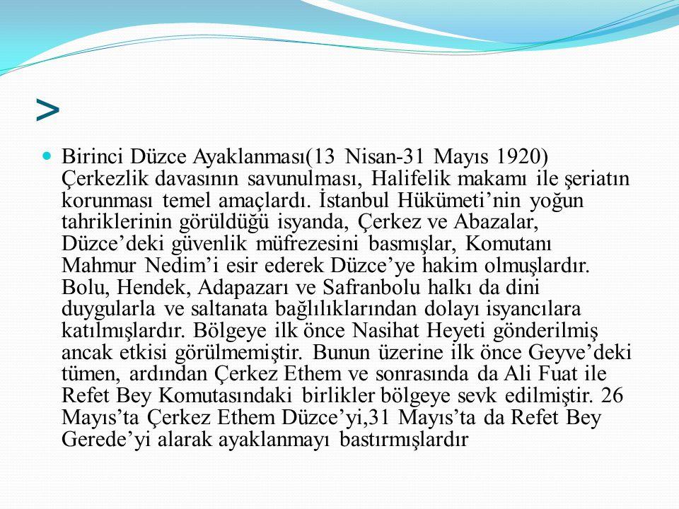 > Birinci Düzce Ayaklanması(13 Nisan-31 Mayıs 1920) Çerkezlik davasının savunulması, Halifelik makamı ile şeriatın korunması temel amaçlardı. İstanbul