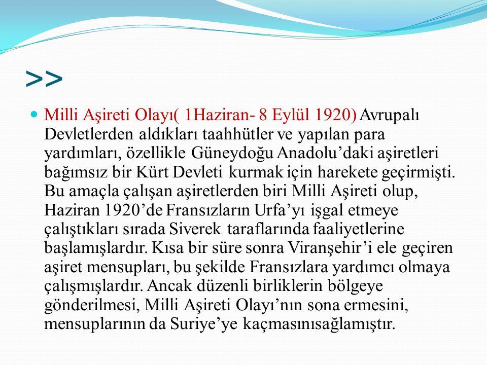 >> Milli Aşireti Olayı( 1Haziran- 8 Eylül 1920) Avrupalı Devletlerden aldıkları taahhütler ve yapılan para yardımları, özellikle Güneydoğu Anadolu'dak